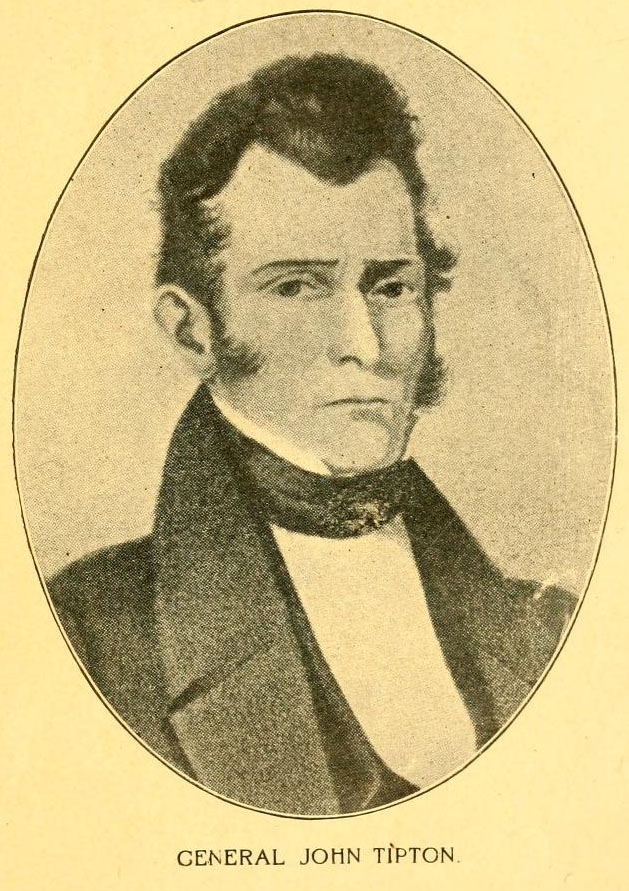 Image of General John Tipton, from Life of General John Tipton and Early Indiana History by M. W. Pershing, [p. 7], published 1900 by Tipton, Ind. : Tipton Literary and Suffrage Club. Presented on Internet Archive.