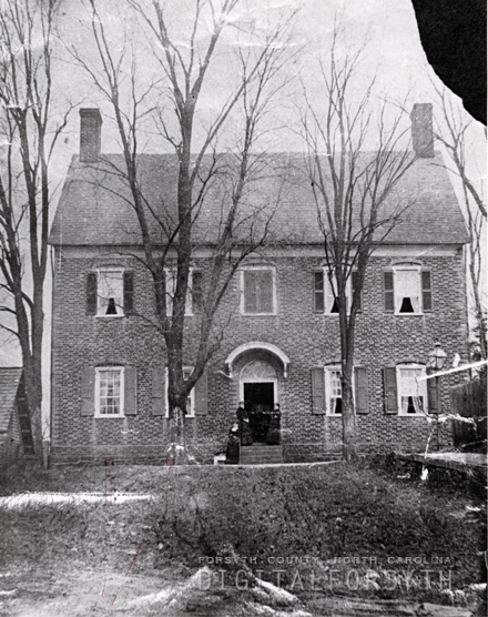 """The Vierling House and Barn in Salem seen from the south on Church Street. Three unidentified women are seen on the front steps. Built in 1802 by Dr. Samuel Benjamin Vierling, the most renowned of Salem's early physicians. The house was home to Dr. Vierling's large family and thriving medical practice,"" from Digital Forsyth, published between 1875-1880 by Old Salem Museums and Gardens. Presented on Digital Forsyth."