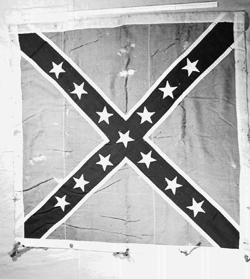 CSA flag with 'J.N. WHITFORD' written on top. Associated with the 67TH Regiment, NC Troops. Courtesy of the NC Museum of History.