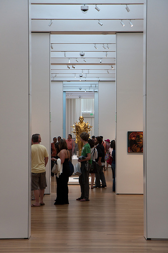 Visitors inside the North Carolina Museum of Art