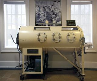 """Iron lung (c. 1933) used to ""breathe"" for polio patients until 1955."" Image courtesy of Library of Congress."