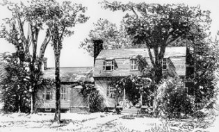This 1887 drawing is perhaps the earliest likeness of the Joel Lane House. North Carolina Collection, University of North Carolina at Chapel Hill Library.