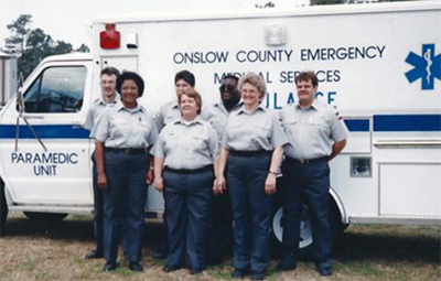 Janie Settles Johnson and Onslow County Emergency Medical Services staff