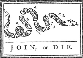 Join or Die cartoon by Ben Franklin