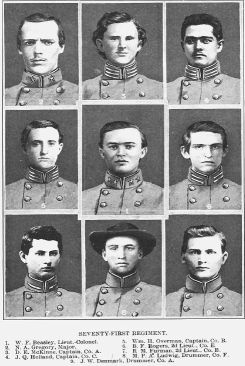 (Click to see larger image). Officers of the Second Regiment North Carolina Junior Reserves (sometimes called the 71st Regiment North Carolina Troops after the war). Image from Volume IV of Histories of the Several Regiments and Battalions from North Carolina in the Great War 1861-'65, edited by Walter Clark (published in 1901 by the State of North Carolina).