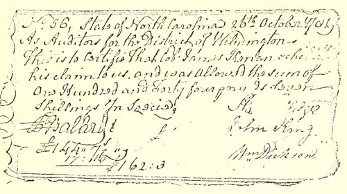Revolutionary war voucher issued to James Kenan. From The Kenan family and some allied families of the compiler and publisher.