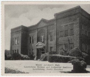 Moore Academic Hall, Laurinburg Normal and Industrial Institute, Laurinburg, North Carolina. Image courtesy of North Carolina Post Card Collection, UNC Libraries.
