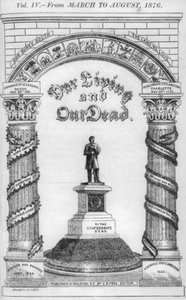 Title page of the last issue of Our Living and Our Dead, 1876. North Carolina Collection, University of North Carolina at Chapel Hill Library.