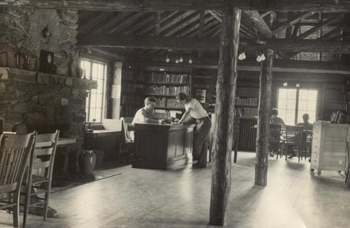 Interior of the log library that Farm School students built in the early 1930s. Image courtesy of Warren Wilson Archives.