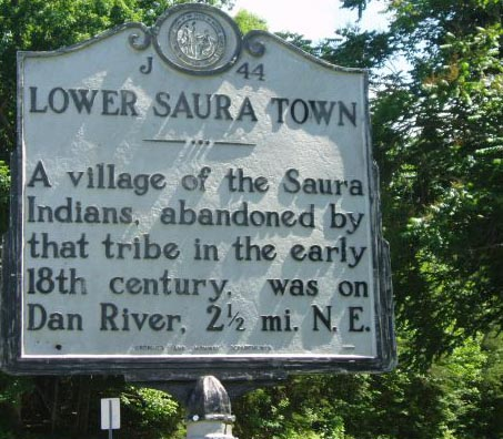 """Lower Saura Town"", NC Historical Marker. Image courtesy of the NC Office of Archives & History, Marker: J-44."