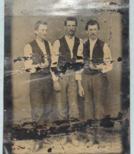 """Tin-type of members of the Henry Berry Lowry posse, c. 1870. Verso: left to right: Frank McKay, Archie McCallum, and William McCallum."" Image courtesy of the North Carolina Museum of History."