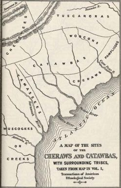 """Map of the sites of the Cheraws and Catawbas. From Gregg's History of the Old Cheraws."" Image courtesy of UNC, Documenting the American South."