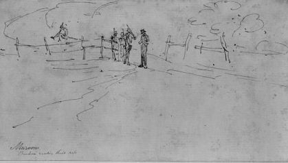 """Maroon. Buckra reading their pass."" Summary from Library of Congress: Drawing shows a white man (Buckra) reading the pass of Maroons (runaway slaves) on a road. Created between [between 1808 and 1815]. Courtesy of Library of Congress."