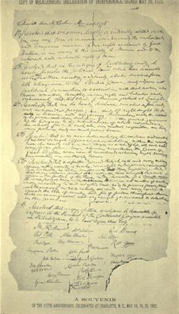 Souvenir version of the Mecklenburg Declaration from 1892