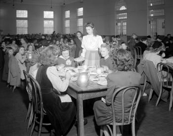 Dining room in the Methodist Home for Children. Image courtesy of the North Carolina State Archives.