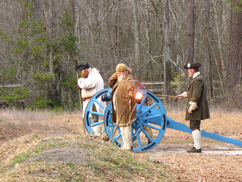 Firing the cannon during re-enactment of Battle of Moore's Creek Bridge.