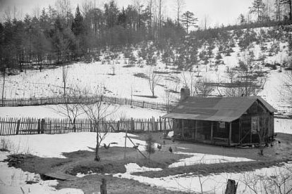 """Mountain farmhouse in Appalachian Mountains."" 1936. Image courtesy of Library of Congress."