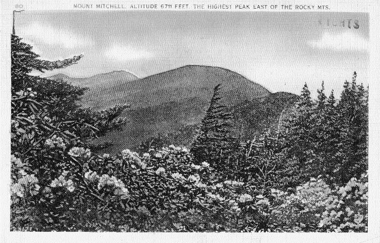 Mount Mitchell postcard from the 1930s or 1940s