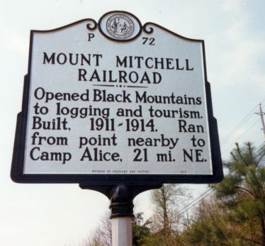 Mount Mitchell Railroad; marker #: P-72. Image courtesy of NC Markers, North Carolina Office of Archives & History.
