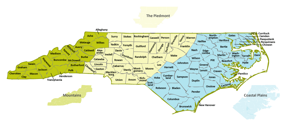 Charlotte Nc Map Usa.Our State Geography In A Snap Three Regions Overview Ncpedia
