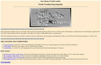 Screenshot of former NC Encyclopedia site