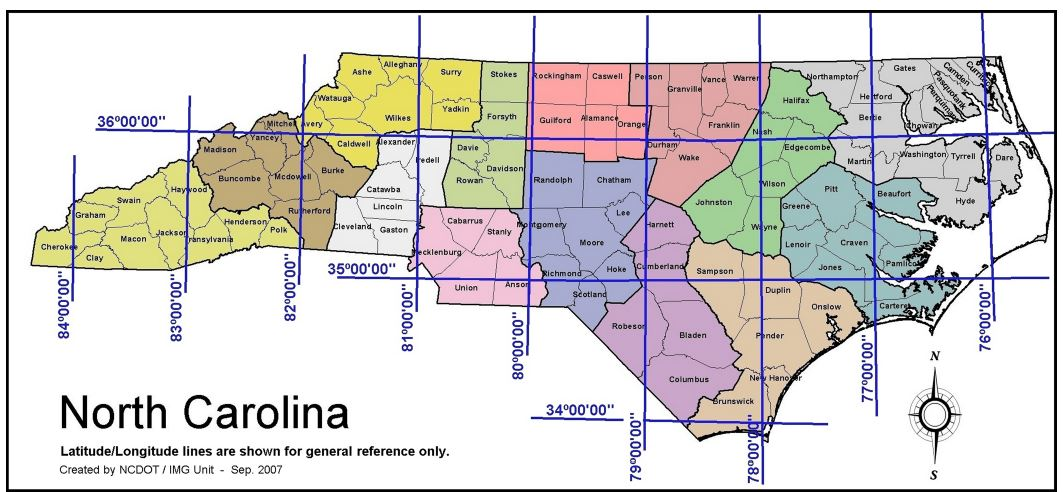 Our State Geography In A Snap Location NCpedia - Latitude and longitude map of the us