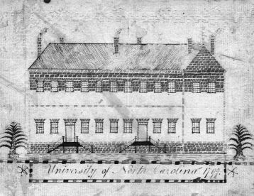 Old East became the home of Hinton James on UNC's campus. East Building on the campus of the University of North Carolina at Chapel Hill, sketched by a student, John Pettigrew, in 1797. North Carolina Collection, University of North Carolina at Chapel Hill Library.
