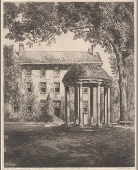 "North Carolina University, at Chapel Hill / ""Old East and Old Well[""] [Etchings of North Carolina Scenes] Album 9, Plate XXXXII, North Carolina Collection, UNC Libraries"