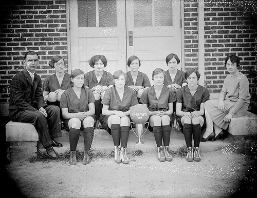 "Lewis White Studio. 1930s. ""Unidentified women's basketball players, no date. From the Dunn area."" Photograph Collection, Ph.C.121-16. State Archives of North Carolina. Online on Flickr"