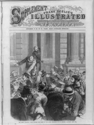 """The Great Financial Panic of 1873 - Closing the door of the Stock Exchange on its members, Saturday, Sept. 20th"". Image courtesy of Library of Congress."