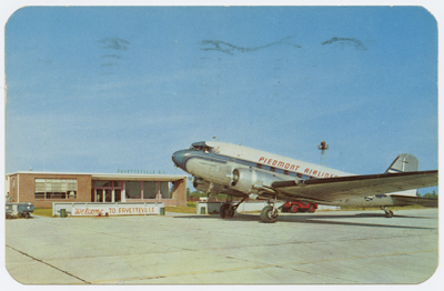 """Piedmont Airlines plane at Fayetteville's Municipal Airport, ca. 1953."" Image courtesy of UNC Libraries."
