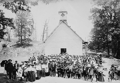 """At Pisgah day of a postponed funeral,"" 1909 Frank W. Bicknell Photograph Collection, PhC.8, North Carolina State Archives, Raleigh, NC, Access # PhC8_186."