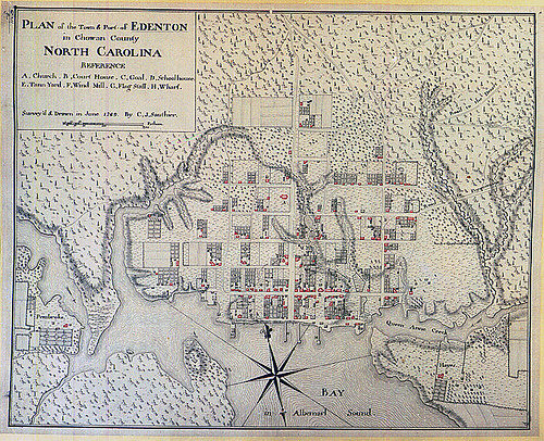 Plan of the Town of Edenton 1769, by C. J. Sauthier. Original in British Library, London. This copy from General Negative Collection, Non-Textual Materials Unit, North Carolina State Archives, call #:  T_84_6_5, Raleigh, NC.