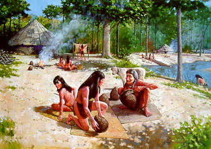 Painting of early American Indian potters