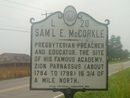Samiel McCorkle NC Historical Marker. Image courtesy of the North Carolina Office of Archives & History.