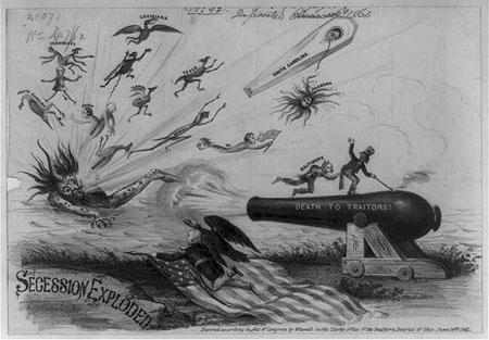 "William Wiswell's 1861 political cartoon ""Secession Exploded."""