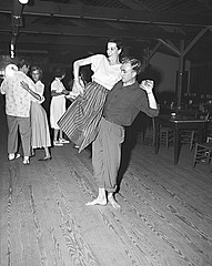 Couple dancing or shagging, Nags Head, NC, 1948. From Conservation and Development Department, Travel and Tourism Division Photo Files, North Carolina State Archives, call #:  ConDev7198D.