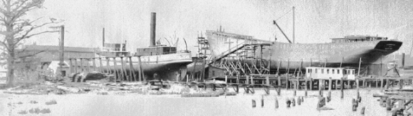 Sailing ship under construction at the Wilmington Iron Works in the late 1800s. Courtesy of North Carolina Office of Archives and History, Raleigh.
