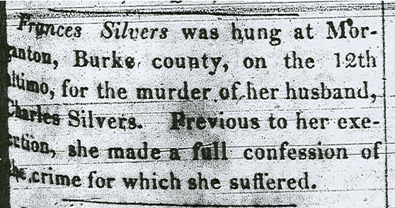 Newspaper article announcing Frankie Silver's death, 1833