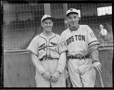 "St. Louis Cardinal Enos ""Country"" Slaughter and Boston Bee Al Simmons in front of the screen at Braves Field, 1939. Copyright Leslie Jones. Image courtesy of the Boston Public Library, Leslie Jones Collection."