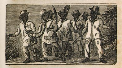 Illustration of slaves in chains