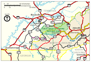 Map of the Great Smoky Mountains National Park