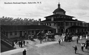 Southern Railway Depot, Asheville, NC, no date (probably c.1900-1910), From North Carolina Postcard Album Collection, PhC.25, North Carolina State Archives, call #:  PhC25_212.