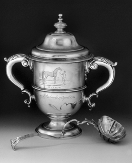 The Sparrow Cup, made in London to commemorate the victory of the horse Sparrow in a race at Pembroke Plantation near Edenton in 1754. Courtesy of Rebecca Miles, Greensboro. Photography courtesy of Colonial Williamsburg Foundation.