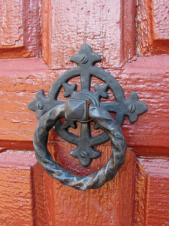 Door knocker at St. John's Church. Image courtesy of Flickr user David Hoffman.