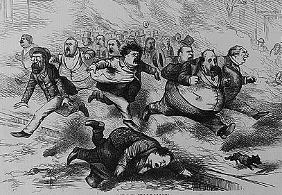 """Stop Thief!"", created by by Thomas Mast, 1871. Image available online from Library of Congress."