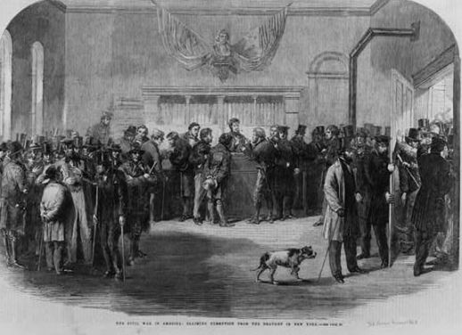 """The Civil War in America: claiming exemption from the draught [i.e., draft] in New York."" 1863; Library of Congress Summary: Summary: Men in room seeking exemption from being drafted into the military. Photo courtesy of the Library of Congress."
