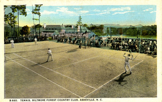 Tennis, Biltmore Forest Country Club, Asheville, NC published by Southern Post Card Co, Asheville, NC. From the Georgia Historical Society Postcard Collection, c. 1905-1960s, North Carolina State Archives, call #:  PhC45_1_Ash37  B-680,  Raleigh, NC.