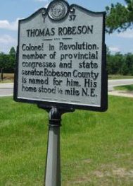 Thomas Robeson, NC Historical Marker, I-37. Image courtesy of North Carolina Office of Archives & History.