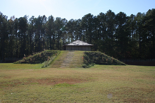"""Town Creek major temple. The earthen mound after which Town Creek Indian Mound is named is the town's principal structure."" Image courtesy of Learn NC;  photo by David Walbert."